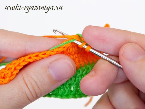 вязание смена нити