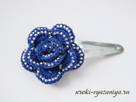 как связать крючком розу