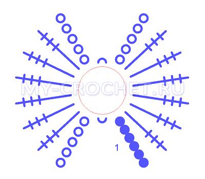 схема бантика крючком